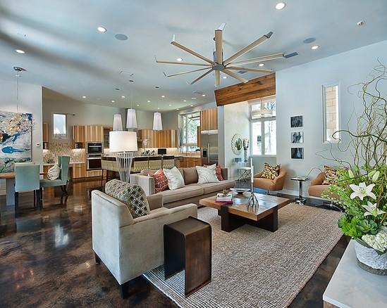 Stained stamped concrete transform your home van de - Concrete floor living room ...